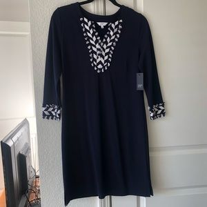 NWT Navy & White Crown and Ivy Shift Dress